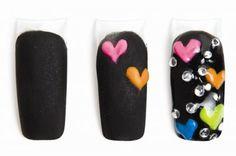 Easy Nail Art Neon Hearts