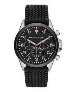 Michael Kors Men\'s Black Tire-Tread Gage Chronograph Watch.