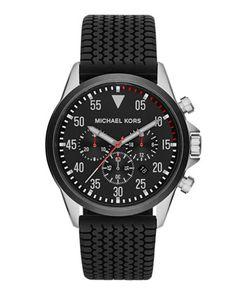 Michael Kors Men\'s Black Tire-Tread Gage Chronograph Watch.
