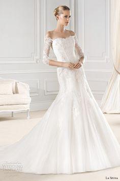 La Sposa 2015 Wedding Dresses | off the shoulder three quarter sleeves 3 4 sleeves lace trumpet wedding dress enrica
