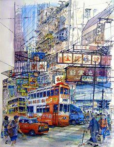 昔日香港 fb page  畫家筆下~香港灣仔(來源:Jose Lei)