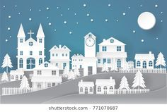 Holiday Christmas Paper art concept City in the dark night with snow and the moon Christmas Events, Christmas Villages, Christmas Paper, Winter Christmas, Holidays And Events, Christmas Crafts, Xmas, Abstract Wallpaper, New Year Illustration