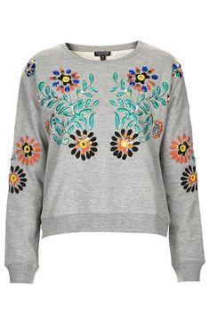 Embellished Floral Sweat - Topshop