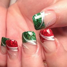 Red Green Glitter Nail tips