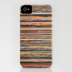Although this case simply looks like a blend of rows of colors, after close glance it is actually a stack of vinyl records.  I like this design because it challenges people to look deeper into it.