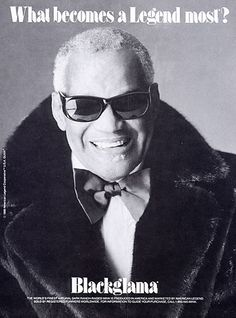"""Ray Charles - Blackglama Mink """"What Becomes A Legend Most?"""" Ad Campaign (1990)."""