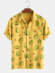 Themed Outfits, Cotton Style, Printed Shorts, Casual Shirts, Casual Outfits, Beachwear, Avocado, Long Sleeve Shirts, Men Casual