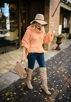 peach slouchy oversized sweater, fall leaves