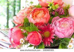 flowers bouquet arrange for decoration in home - stock photo