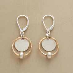 SILVER SATELLITE EARRINGS hammered 14kt goldfilled rings punctuated with matte sterling silver beads encircle textured sterling silver disks