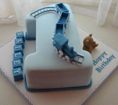 Children's Cakes 1st Birthday Cakes, Boy Birthday, Number 1 Cake, Train Party, Beautiful Cakes, 1 Year, Cake Ideas, Plane, Trains