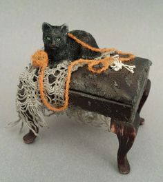OOAK 1:12 Scale Dollhouse Miniature Spooky Halloween Cat with Bones Witch Pet