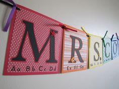 Teacher Name Banner Back to School Custom Banners. $15.00, via Etsy.
