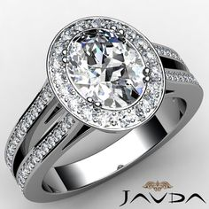 Halo Oval Diamond Split Shank Engagement Ring EGL F VS1 14k White Gold 1.94 ct #Javda #SolitairewithAccents