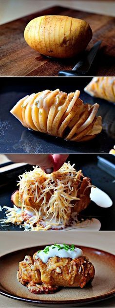 Scalloped Hasselback Potatoes. Another creative and delicious recipe. Potatoes with garlic and cheese sounds amazing and the picture looks sooo tasty. If you are bored of the classic potatoes recipes, this is a new metod to cook potatoes. Easy to make, I