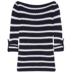 Tory Burch Lillian striped wool and cotton-blend sweater ($275) ❤ liked on Polyvore