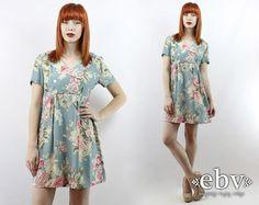 Vintage 90s Blue Floral Dress S M L Babydoll Dress by shopEBV