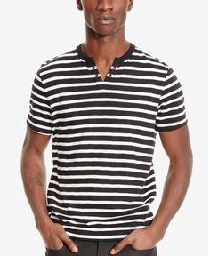 Kenneth Cole Reaction Men's Striped Slub Short-Sleeve Henley - T-Shirts -  Men - Macy's
