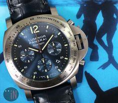 """Floating About!"" Officine #Panerai 44mm Luminor Daylight Chrono L Series Ref#: PAM 326  ($7,625.00 USD) http://www.elementintime.com/Officine-Panerai-Luminor-Chronogrpah-Daylight-PAM-326-Titanium-Blue-Dial-Sku-9041"