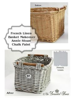The Decorated House :: French Linen Gray Painted Basket Tutorial, using Annie Sloan Chalk Paint - I am drawn to painted baskets Annie Sloan Chalk Paint French Linen, Annie Sloan Paints, Linen Baskets, Wicker Baskets, Laundry Baskets, Picnic Baskets, Wicker Planter, Wicker Purse, Painted Baskets