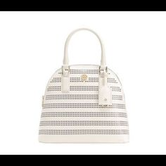 "Nwt Tory burch Robinson dome satchel Perforated saffiano leather. Interior zipper pocket and 2 open pockets. Removable luggage tag. Tubular leather top handle with 5.7"" (14 cm) drop. 23"" (58 cm) adjustable, removable cross-body strap. Height: 11"" (28.3 cm) Length: 15.7"" (38 cm) Depth: 4.7"" (12 cm) Tory Burch Bags Satchels"