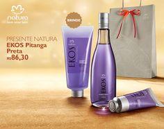 Presente Natura Ekos Pitanga Preta - Desodorante Colônia + Polpa para as Mãos + Sabonete Líquido + Embalagem Desmontada