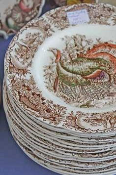 Thanksgiving Table Vintage Transferware Plates With Turkey Vintage Thanksgiving