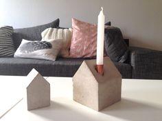 Kerzenständer - Kerzen Betonhäuschen - concret - copper -Häuschen ein Designerstück von m_hoch3 bei DaWanda