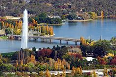 Lake Burley Griffin featuring the Captain Cook Water Jet, Canberra, ACT, Australia. Australia Capital, Australia Travel, Great Places, Places To Go, Beautiful Places, Amazing Places, Tasmania, Australia Places To Visit, Australian Capital Territory