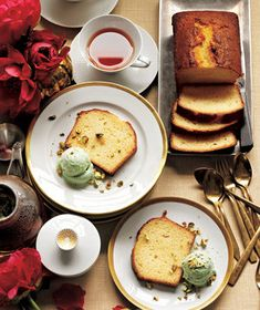 Lemon Buttermilk Cake With Pistachio Ice Cream   What's more wonderful than an evening around the table with good friends? This easy-to-execute game plan ensures that the meal will be delicious, the company delightful, and the host (that's you) relaxed, happy, and nowhere near the kitchen.