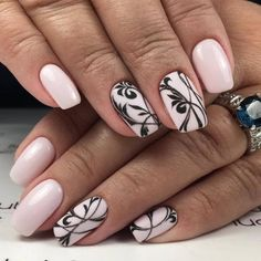Stunning black and white gel nails