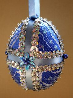 Blue Satin, Tulle and Sequins Easter Egg by Ornament Designs