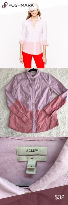J. Crew Boy Shirt in Colorblock Oxford Button Down Light pink/peachy salmon pink. In good used condition - slightly wrinkled, but no flaws. J. Crew Tops Button Down Shirts