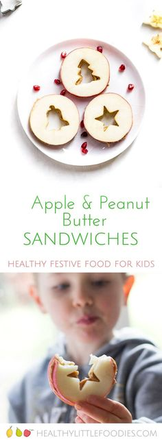 These apple and Peanut butter Sandwiches are a fun, healthy and tasty snack for kids. Use a Christmas cookie cutter to make make them great for Christmas.  #healthychristmas #healthychristmasideas #kidsfood via @hlittlefoodies