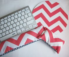 Keyboard and / or WRIST REST for MousePads  -  Reversible coral chevron and gray dots coworker desk cubical office  accessories teacher gift