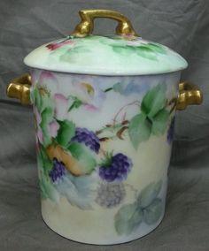 Antique Vintage Limoges Painted Porcelain Condensed Milk JAR Floral Blackberry…