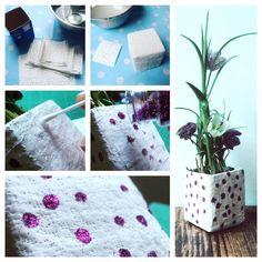 Gipsbinden 12er Set, Recycling: Tetrapack/ Milchpackung als Blumentopf -mit Glitzerpunkten. Schönes und einfaches Geschenk zum Muttertag!