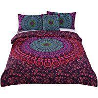 Sleepwish 4 Pcs Mandala Bedding Posture Million Romantic Soft Bedclothes Plain Twill Boho Bohemian Duvet Cover Set King Size