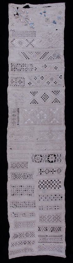 Bowes Museum EMB.569, Long sampler on fine linen, showing two samples of design worked in silk and thirty six samples of draw-thread and white work in fine linen thread. Worked by Mary Maddison, in the first half of the 18th century/c.1725. Size: 63.7 x 13.7 cm.
