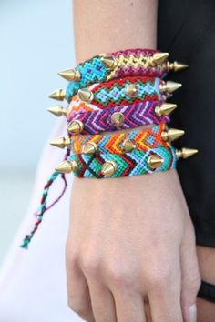 Friendship bracelets go Aztec with studs