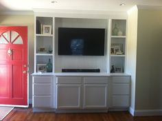 Built-in Bookcase using unfinsidhed base cabinets from Lowes