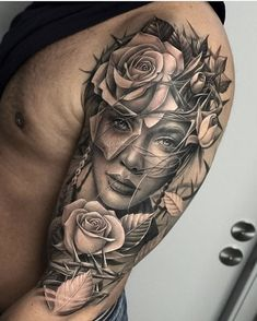 Top 100 Gorgeous Tattoo Ideas And Designs For Men Millions Grac Portrait tattoos Face Tattoos For Men, Girl Face Tattoo, Cool Arm Tattoos, Best Sleeve Tattoos, Badass Tattoos, Arm Tattoos For Guys, Leg Tattoos, Girl Tattoos, Grace Tattoos