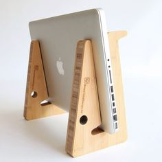 unique puzzle shaped laptopstand in sustainable by greentunadesign