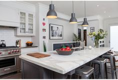 A large island is perfect for the busy family to crowd around, designed by Danielle Bryk, from Bryk House Season 1 Episode. Kitchen Dinning, Diy Kitchen, Kitchen Design, Kitchen Ideas, Kitchen Reno, Dining Rooms, Decoration Inspiration, Interior Inspiration, Decor Ideas