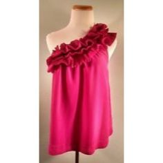 Ruffle Pink H&M One-Shoulder Top Hot pink and super fun pink one shoulder top with full pleated ruffle all along the top and back from H&M. Swing bottom. Size 4, worn once tucked into a skirt. No flaws. Great statement piece! H&M Tops