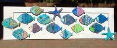 Arte de pared de pescado pintado muestra Playa por CastawaysHall