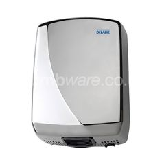 Automatic hand dryer available in a White ABS or Polished Stainless Steel finish.