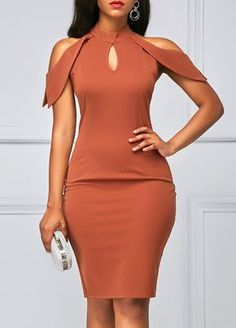 Cold Shoulder Mock Neck Cutout Sheath Dress - Something Special For Me Fashions Tight Dresses, Sexy Dresses, Casual Dresses, Sheath Dresses, Sleeve Dresses, Party Dresses, Latest African Fashion Dresses, Women's Fashion Dresses, Spandex Dress