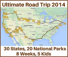 The Ultimate Road Trip With 30 States And 20 National Parks In An Eight Week Period Here We Ll Share A Map And Stops They Took During Their Trip
