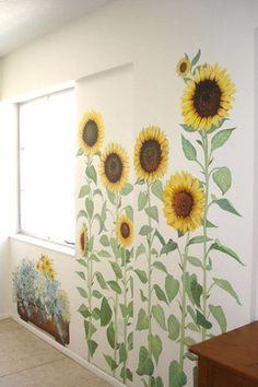 Simple Home Decor .Simple Home Decor Mural Floral, Flower Mural, Mural Painting, Mural Art, Paintings, Sunflower Room, School Murals, Door Murals, Fence Art